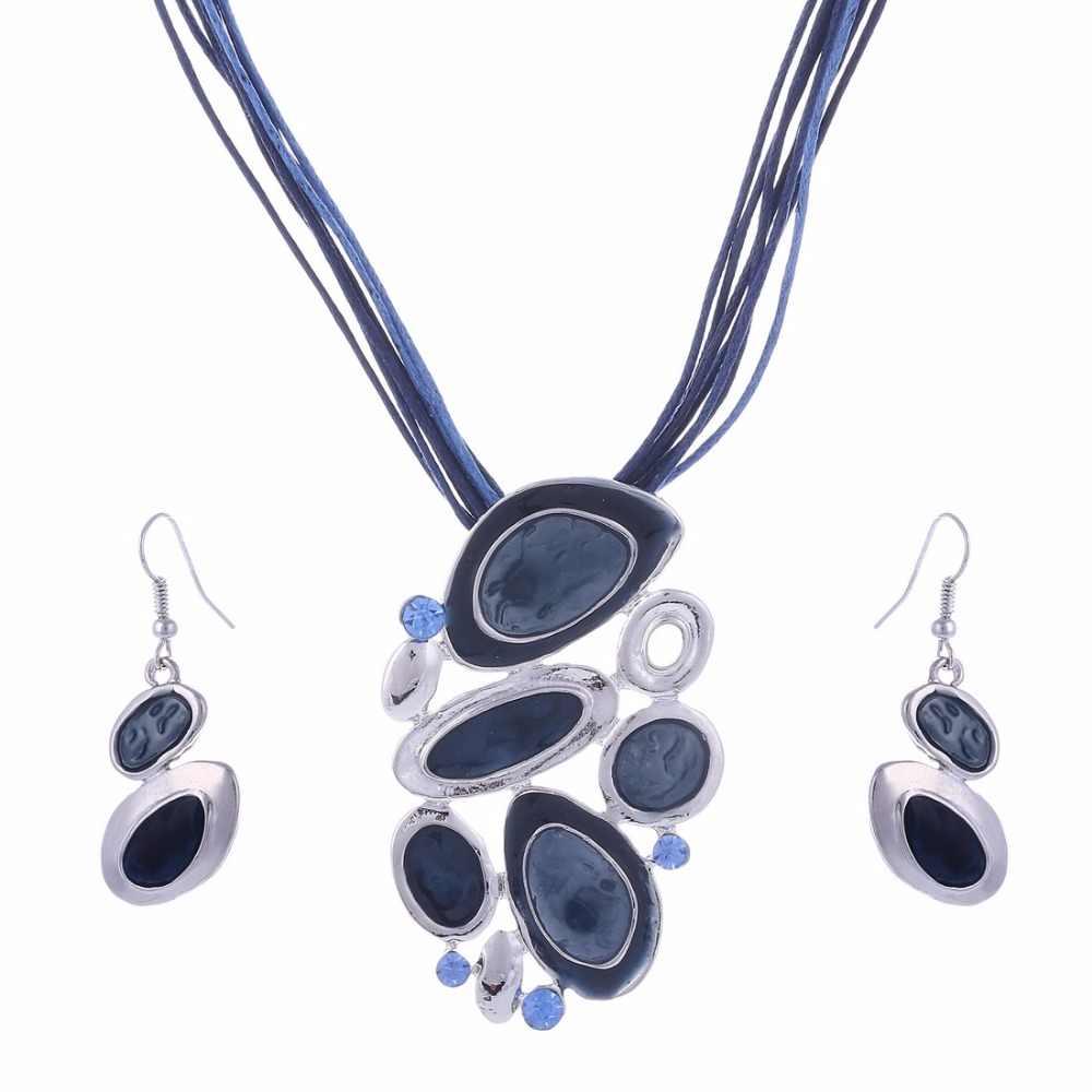 MINHIN mavi çok katmanlar kolye küpe seti kadınlar için yağ damla tasarım gümüş kolye takı seti bildirimi aksesuar