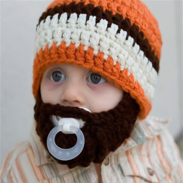 a0ce72697f5 Winter baby hat Hand Knitted Crochet Baby Beard Hat Newborn orange stripe  Beanie Warm winter Hat outdoor caps Kids Adult Hats