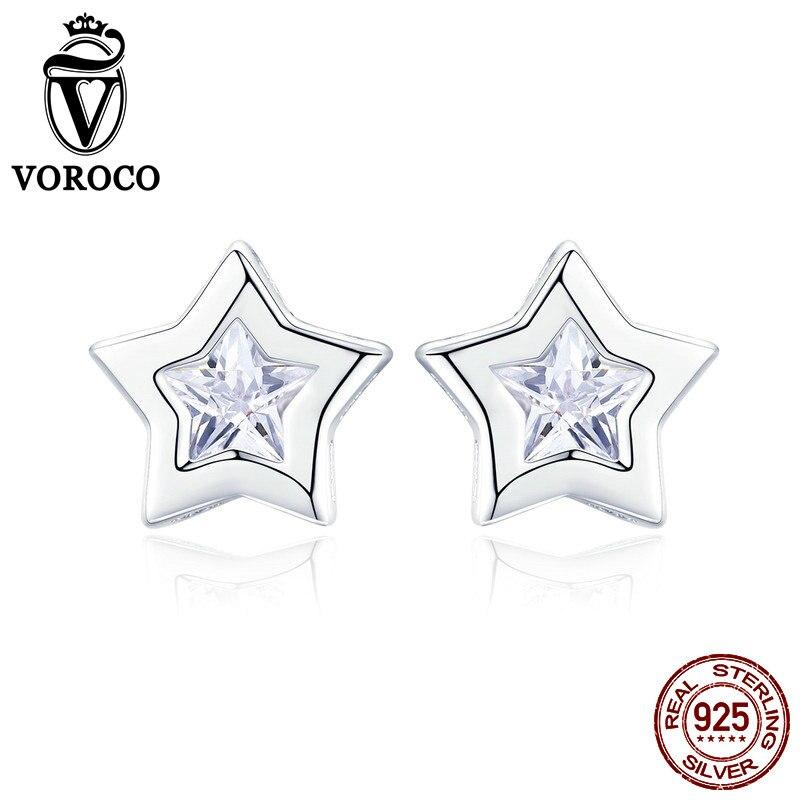 VOROCO Stud-Earrings Fine-Jewelry Silver Woman 100%925-Sterling-Silver Clear CZ Party