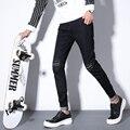 Summer New Korean men's brand holes rivet Straight jeans fashion slim letter stylist trousers costumes / 32-36