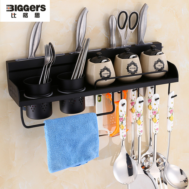Free shipping 304 stainless steel wall mounted kitchen racks Multi-function kitchen shelf towel bar hanging hooks 1316