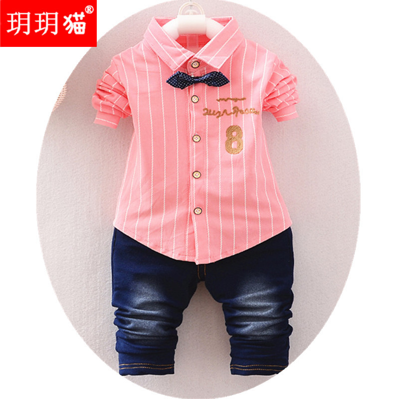 1c4af62e6c4e Fashion Kids Clothes Spring   Autumn Baby Boys Sets Kids Long Sleeve Sports  Suits Bow Tie T-shirts + jeans Pants Boys Clothes