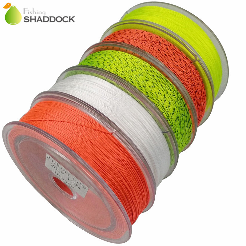 Shaddock Fishing 100m 110 Yards 20LB Fly Fishing Backing Line Fluo Grön Orange Vit Super Stark Flätad Backing Fiske Lines