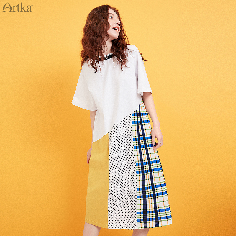 ARTKA 2019 Summer New Women Dress O-Neck Special Stitching Dress Loose Casual Short Sleeve T-shirt Dress For Women ZA15096X image