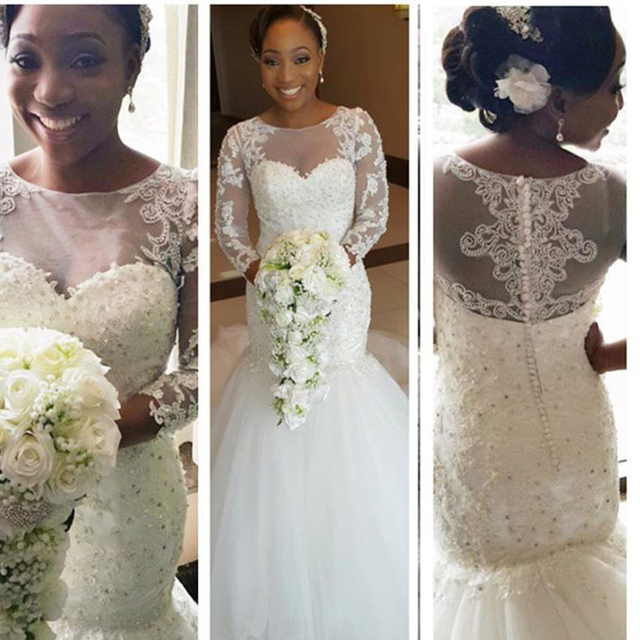 2016 Long Sleeve Mermaid Wedding Dress Court Train Lace Appliques White Nigerias Weddings Gowns