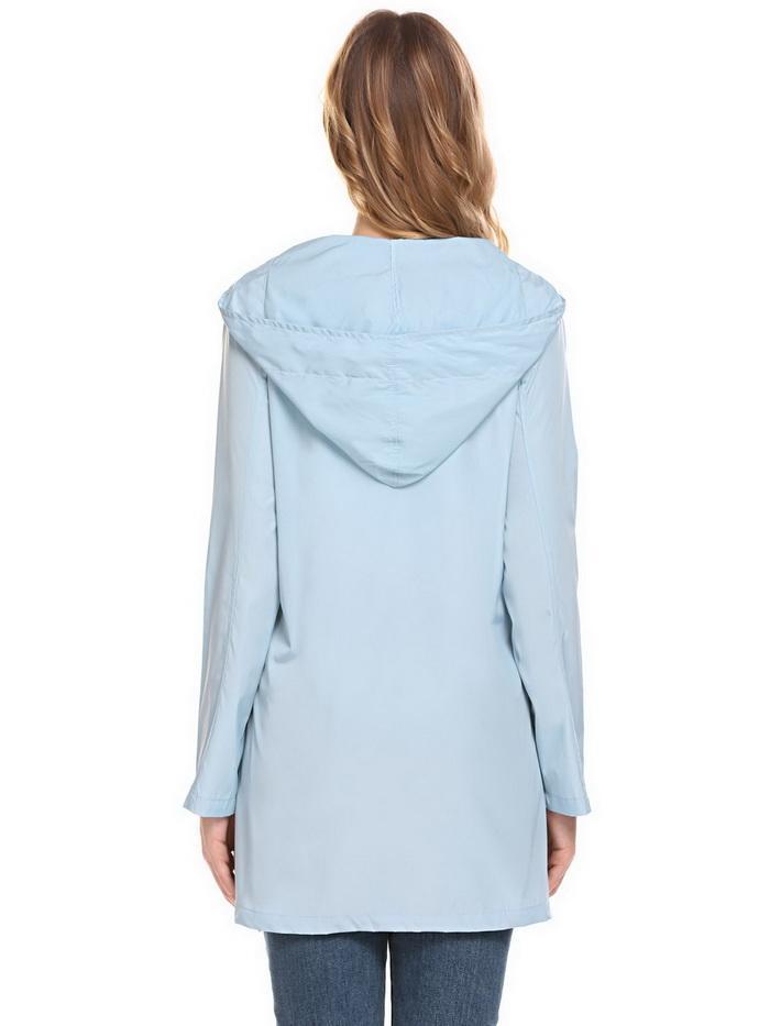 f02c76908 Meaneor Lightweight Women Jackets Long Sleeve Hooded Coats Waterproof  Overcoat Rain Coat Solid Women Jacket Raincoat