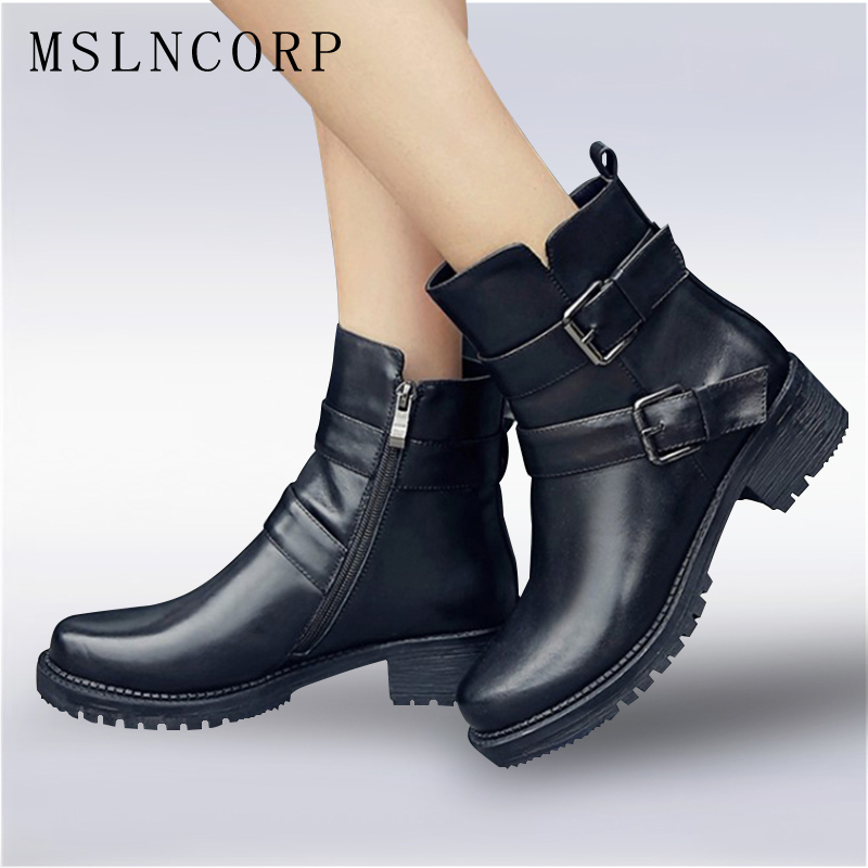 plus size 34-43 New Fashion European Style Black Ankle Boots Flats Round Toe Buckle Zip Martin Boots Genuine Leather Women Shoes trusify 2017 oh attraction cow leather ankle zip short boots square toe med strange style european style boots