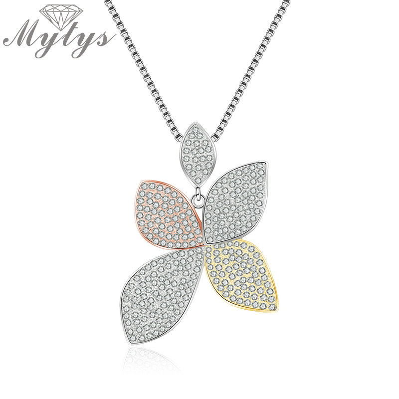 Mytys Full Micro CZ Pave Setting Cubic Zirconia Graceful Flower Pendant Necklace for Women Fashion Wedding Jewelry CN501 CN495