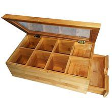 ABFP коробка для чая натуральный сундук с прозрачной откидной крышкой, 8 секций для хранения с выдвижным ящиком