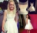 Bonito Laço Curto Branco Homecoming Dressse 8ª série Vestidos de Baile Elegante Com Pérolas Vestidos de Formatura Vestidos De 15 Cortos
