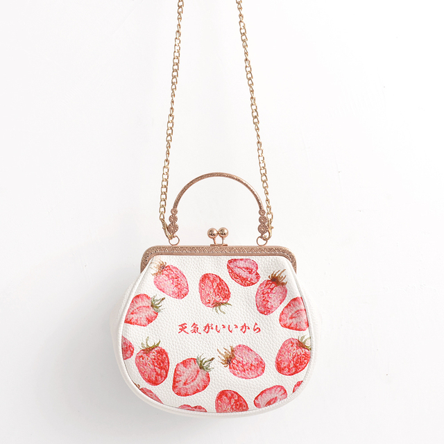 2016 White Fashion Chains Strawberry Handbag Young Girl Soft PU Lolita Messenger Bag Mouth Gold Female Lady Women's Bags Totes