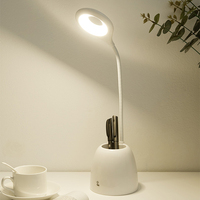 Table Lights Eye Protect Dimmable LED Rechargable Touch Sensor Pen Container Desk Light With Mini Fan