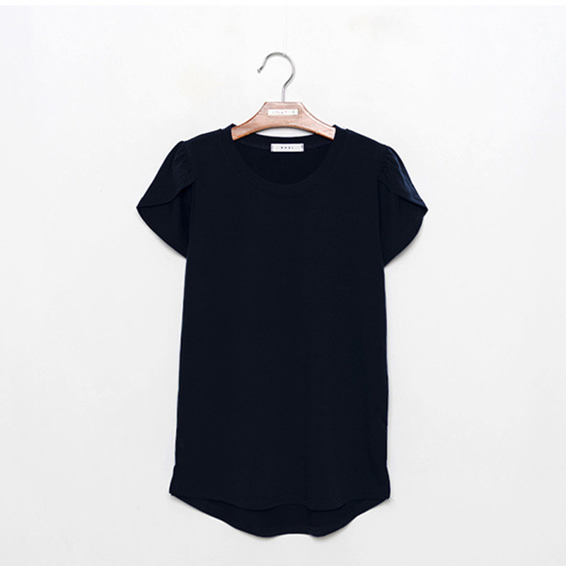 Women tshirt Leisure Petal sleeve shirt camiseta mujer Polyester summer 2019 Solid color Oneck vogue shirt New arrive fashion in T Shirts from Women 39 s Clothing