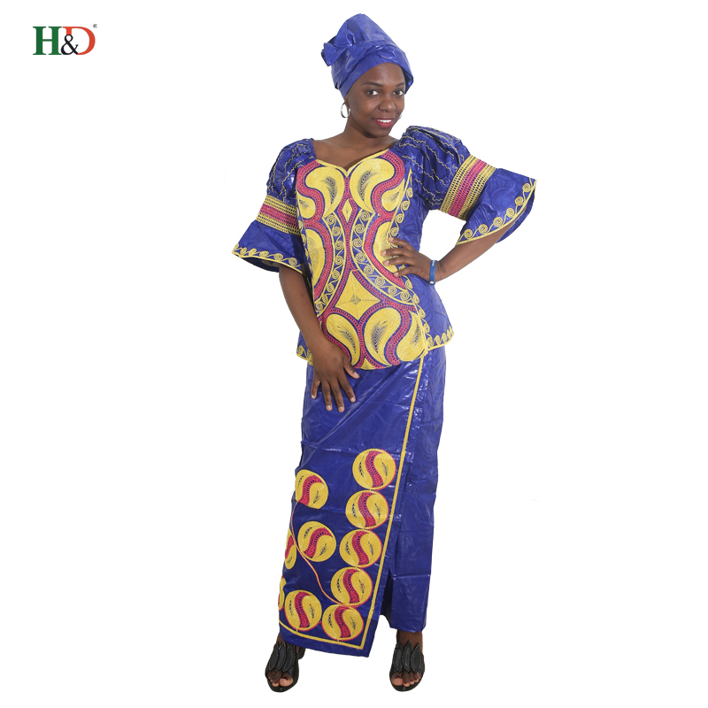 H&D Visos Afrikos stilių viršūnės siuvinėjimo tradicinė suknelė moterims 2017 Riche Bazin audinys Medvilnės sijonas dviejų dalių rinkinys