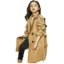 2019 Spring Fashion New Girl jackets Windbreaker Baby Kids Long Trench Double-br