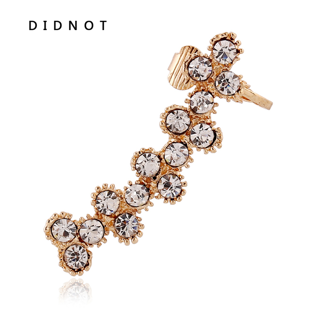 Didnot Golden Silver Ear Clip Crystal Earrings Anti Allergic Alloy Cuff High End Jewelry
