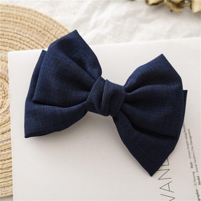 Ponytail Clip Vintage Linen Barrette Zubehör für Haare Große Bow Hair Clips