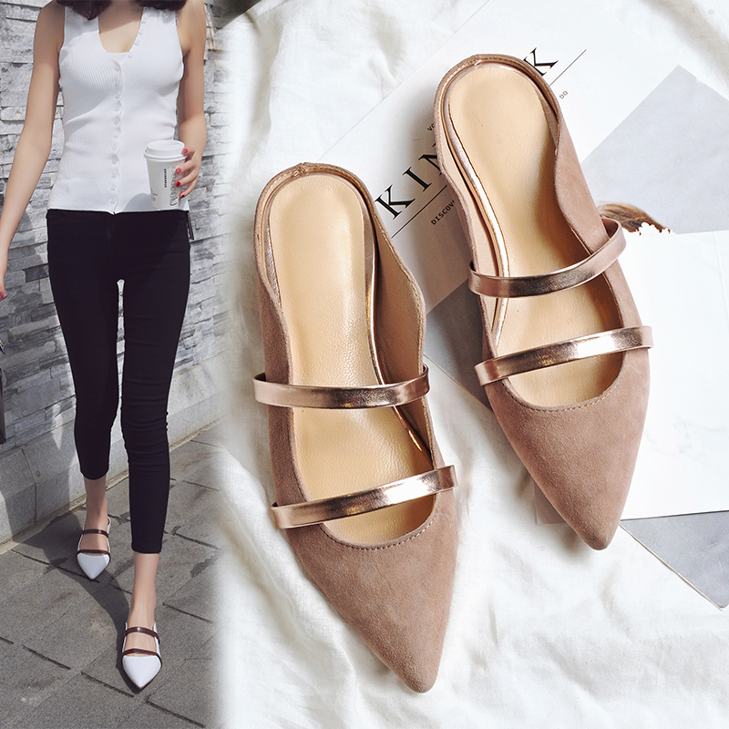 KSJYWQ Pointed-toe Women Mules Summer Style Slippers Flat heel Shoes Women Leather White Sandals Size 34-39 Box packing M288