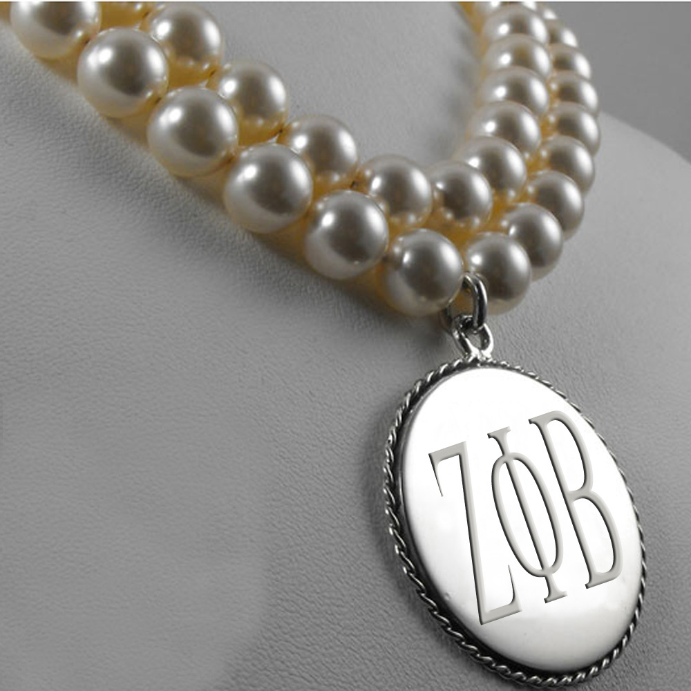 High Quality Engraved Zeta Phi Beta Dould Strand Beaded Pearl Necklace
