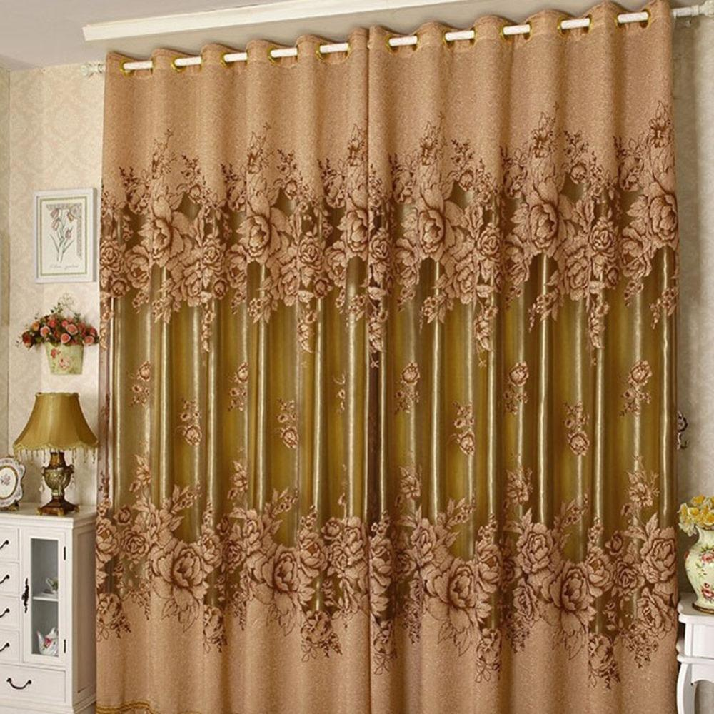 Modern Window Curtain With Flower Design: Modern Floral Tulle Curtains For Living Room Drape