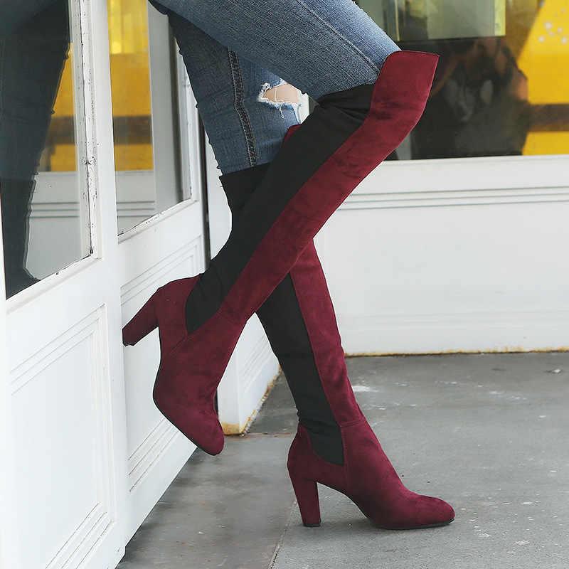 2018 ฤดูหนาวหญิงต้นขาสูงรองเท้า Faux Suede รองเท้าส้นสูงหนังผู้หญิงกว่าเข่ารองเท้าขนาด 34 -43