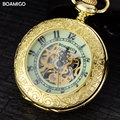 FOB men pocket watches gold mechanical watches BOAMIGO brand skeleton arbic number analog gift watches luxury chain reloj hombre