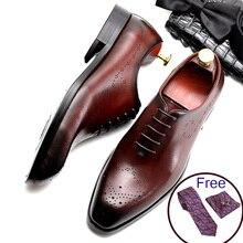 Phenkang/мужские кожаные туфли; модельные туфли в деловом стиле; мужские брендовые свадебные туфли из натуральной кожи на шнуровке; Цвет Черный