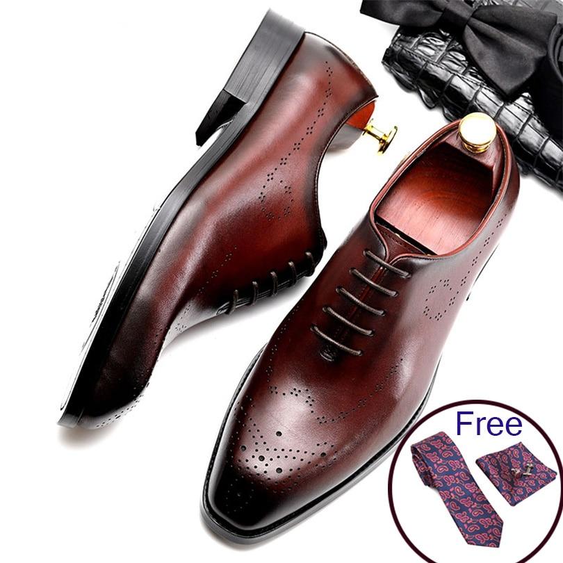 Men Leather Shoes Business Dress Suit Shoes Men Brand Bullock Genuine Leather Black Lace Up Wedding Mens Shoes Phenkang
