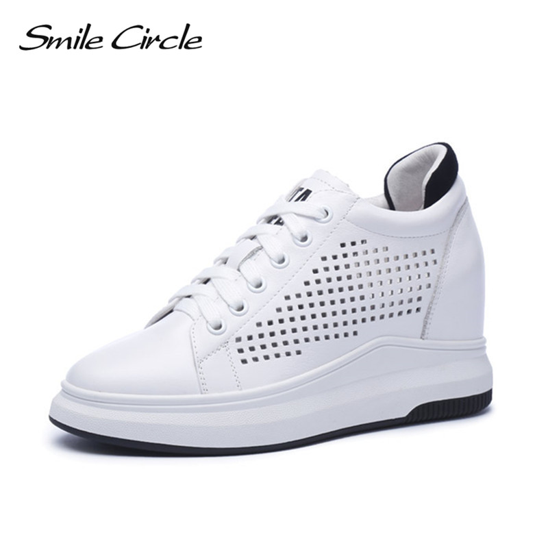 Smile Circle 2018 Wedges Sneakers Women Genuine Leather Casual Shoes Women Fashion Lace-up High heel Platform Shoes