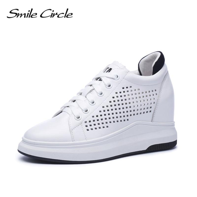 Sorriso Cerchio 2018 Zeppe Scarpe Da Tennis Delle Donne Del Cuoio Genuino Casual Scarpe di Modo Delle Donne Lace-up High heel Platform Shoes