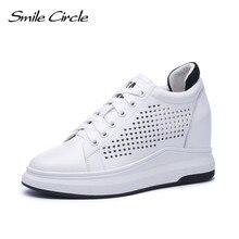 Sorriso círculo cunhas tênis feminino couro genuíno sapatos casuais moda feminina salto alto sapatos de plataforma