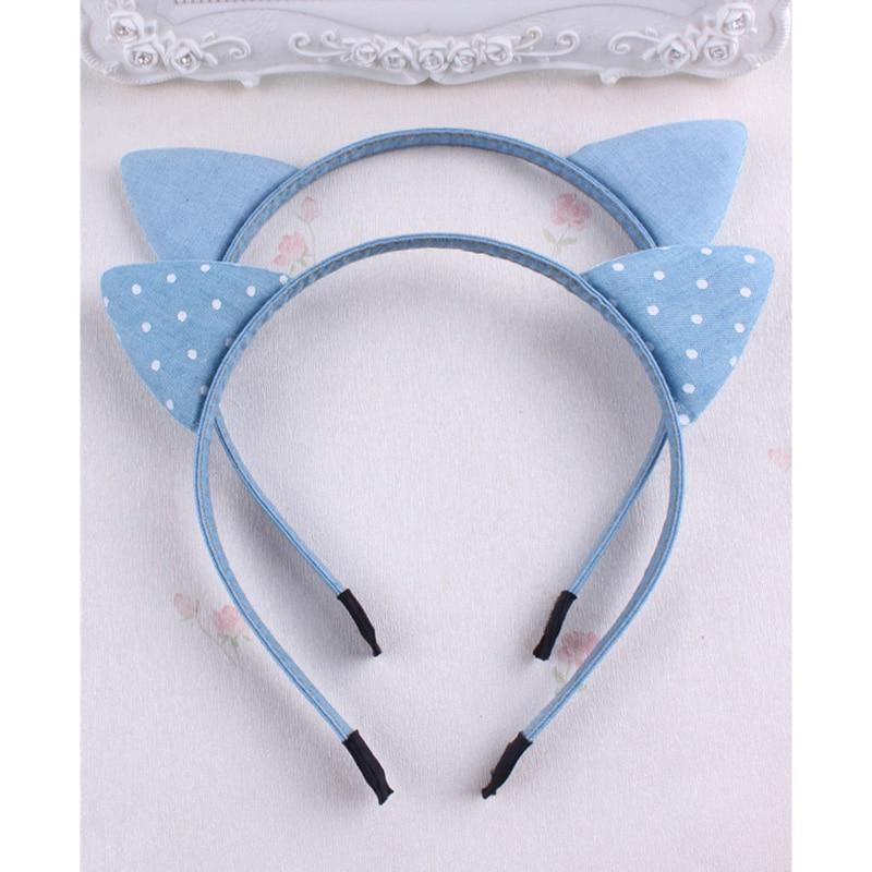 MeryYuer Fashion Classic Korean Blue Jean Cowboy Hairband Cat Ears Denim Cloth Leisure Headbands Girls Children Hair Accessories