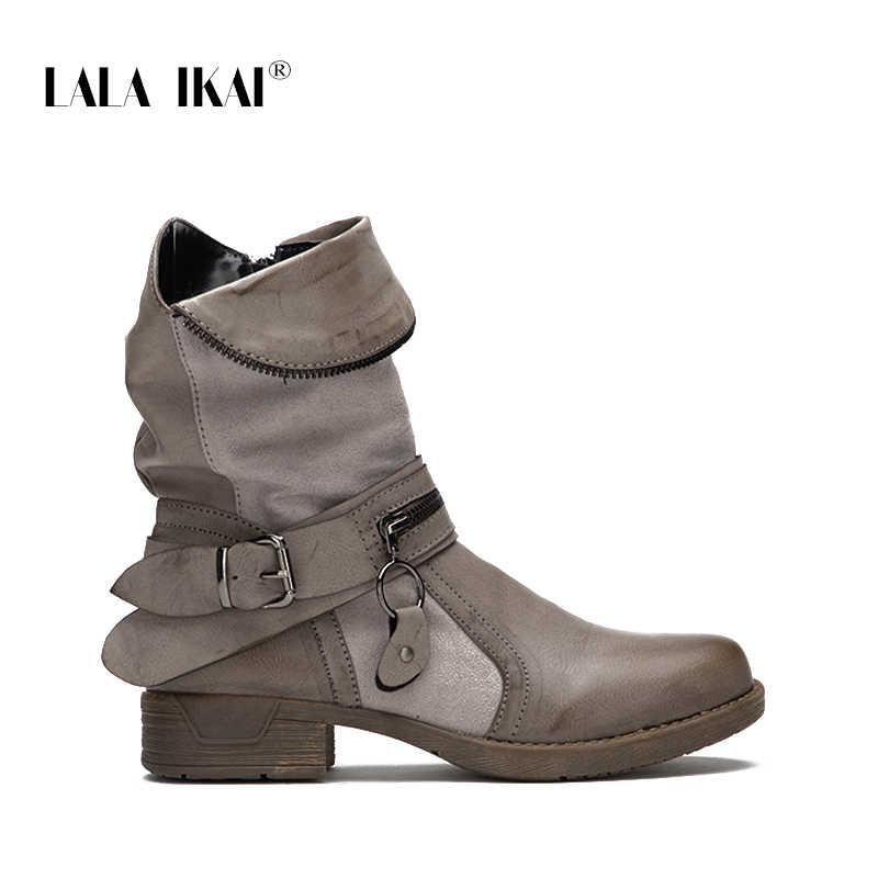 LALA IKAI fermuar PU deri kadın batı çizme katı yuvarlak ayak kadife bayanlar kış düz yarım çizmeler moda 014A2191 -4