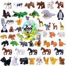 Legoing Duplo животные ферма набор Парк Юрского Периода Динозавры лошадь панда животные зоопарк строительные блоки игрушки для детей большие кирпичи