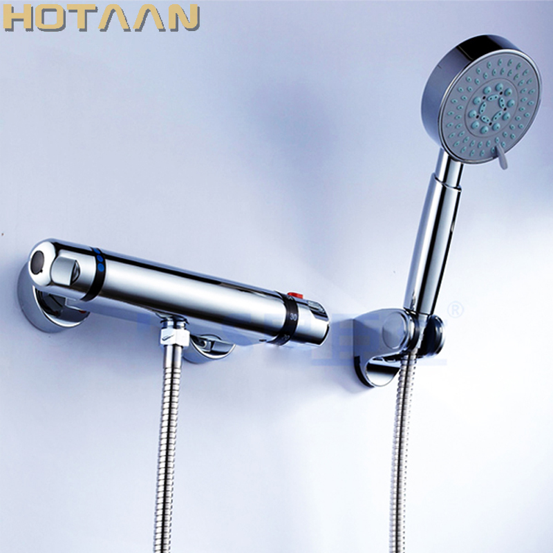 Free shipping luxury wall mounted thermostatic shower faucet set mixer tap, thermostatic valve + hand shower YT-5302 free shipping new arrival brass chrome bathroom luxury wall mounted thermostatic mixer valve rain shower mixer set