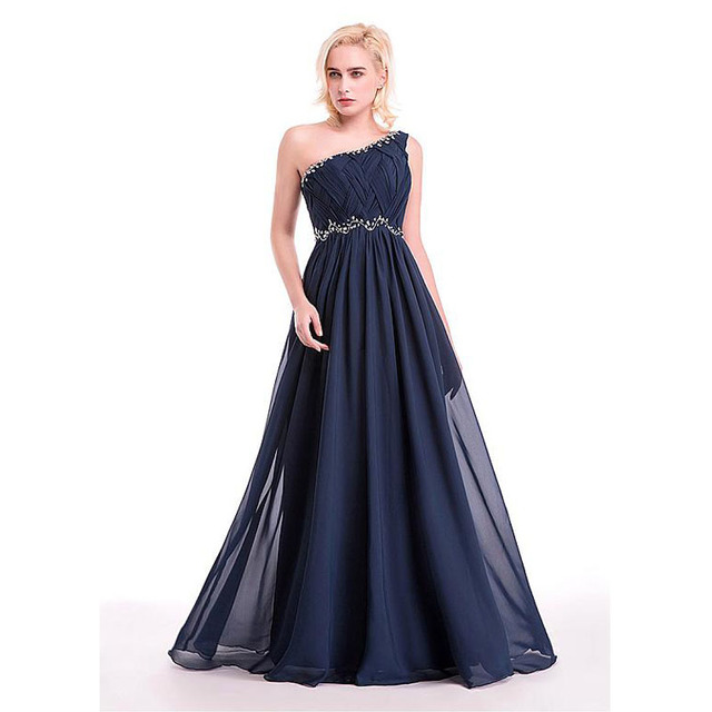 One Shoulder Pleat Beaded Long Evening Dresses 2016 Chiffon Navy blue Evening  Gowns Party Dresses Simple Cheap China Made Formal db1269b760f6