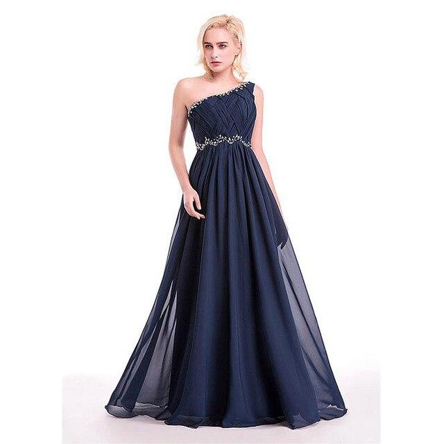 13b881dba Un hombro plisado con cuentas largas vestidos noche 2016 gasa azul marino  vestidos de noche vestidos