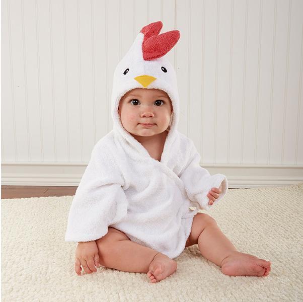 Moda bebê novidade 70 cm branco galinha dos desenhos animados de algodão modelagem com capuz toalha de banho frete grátis