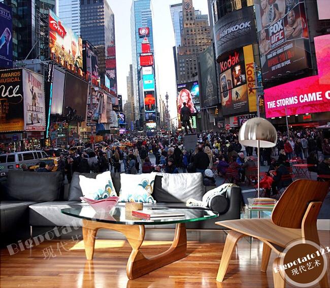 The Custom 3D MuralsNew Yorks Times Square Building Street View Living Room Sofa