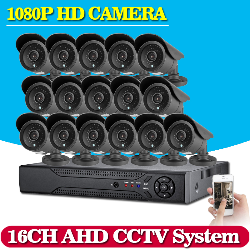 Home CCTV AHD DVR 16CH Hybrid 16 1080P AHD CCTV Kits 2 0MP Security Cameras Super