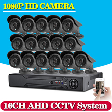 Home CCTV AHD DVR 16CH Hybrid 16*1080P AHD CCTV Kits 2.0MP Security Cameras Super Night Vision Home Video Surveillance System