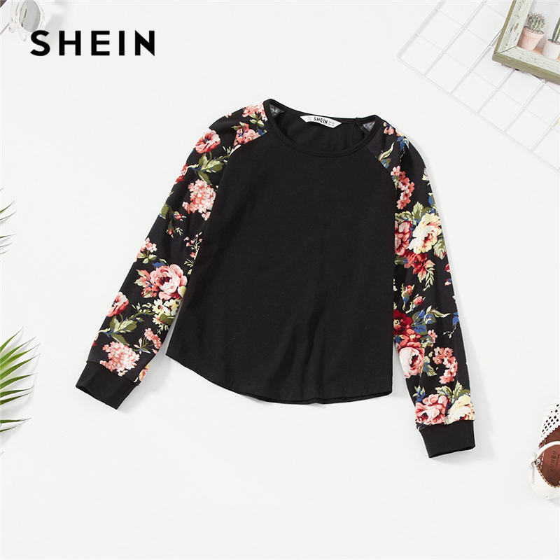 SHEIN Kiddie Girls Black Floral Print Raglan Sleeve Casual T-Shirt Girls Tops 2019 Spring Long Sleeve Kids Tees Children Clothes