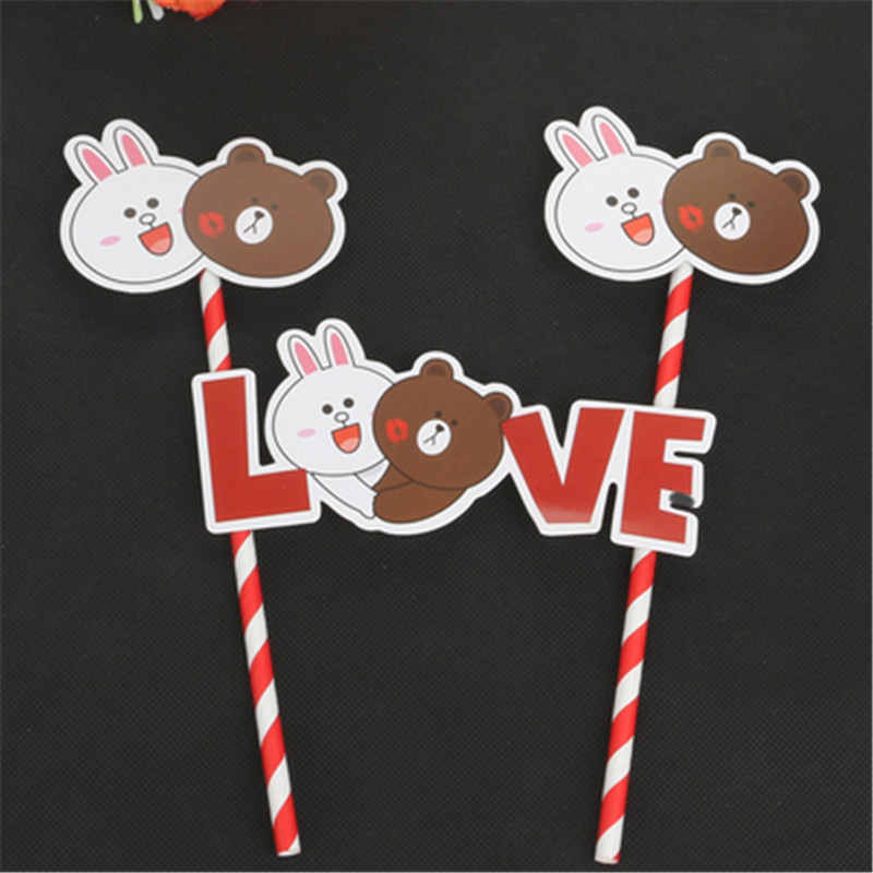 children toys bear rabbit doll cupcake toppers cake decorating adult 50th birthday cake decoration rabbit toy cake topper in Cake Decorating Supplies from Home Garden