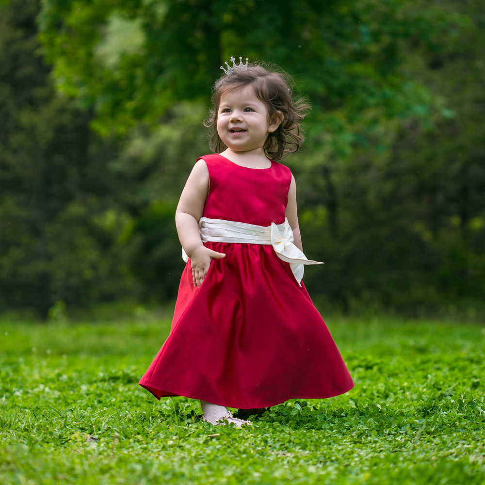 aaed1db3b547 2015 wholesale OEM cheap frock model flower girl dress,satin ball gown red  dress for bridesmaid,baby girls birthday dress