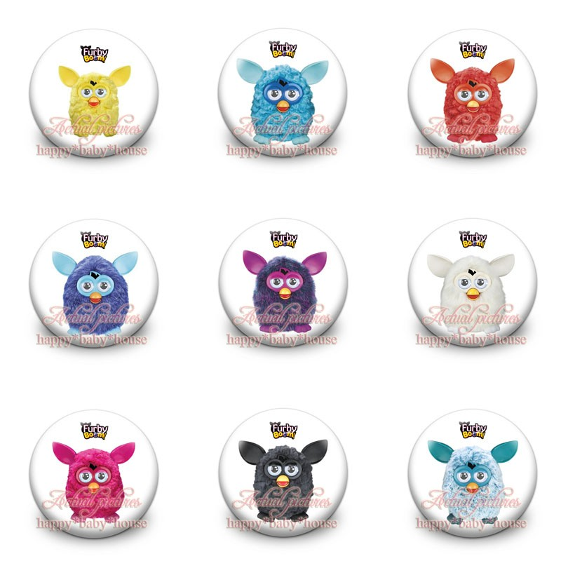 Mixed 45Pcs Furby Boom Cartoon Buttons Pins Badges,Round Badges,30MM Diameter,Clothing/Bags Accessories Birthday Party Gifts
