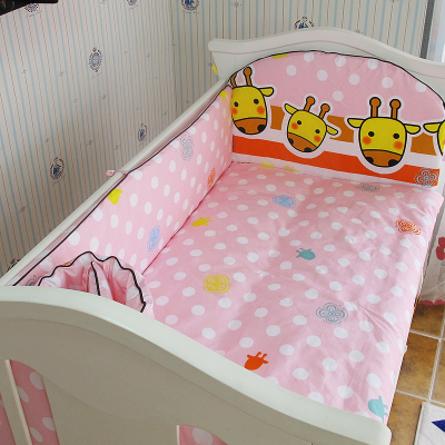 Promotion! 5PCS Baby Bedding Cotton Cartoon Crib Bedding Set for Girls ,include:(bumpers+sheet)