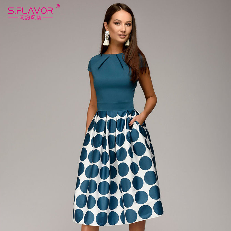 S.flavor Vintage Women Wave Point Dress Hot Sale Short Sleeve Patchwork A-line Short Dress Casual Women Spring Summer Vestidos