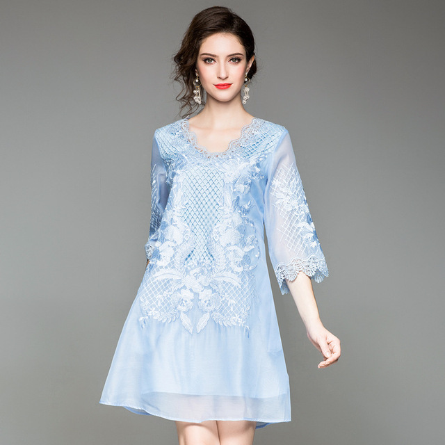 Embroidery V-Neck dress 2018 new Summer Womens Clothing Office work sexy Dress  Plus Size mini A-Line Retro party dresses autumn bc7409fc817c