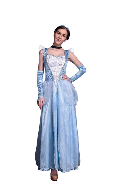 660af92aeb Sexy Cinderella cosplay Fairy Women Adult Cosplay charming Costume light  Blue Dress Outfit Halloween carnival Costume