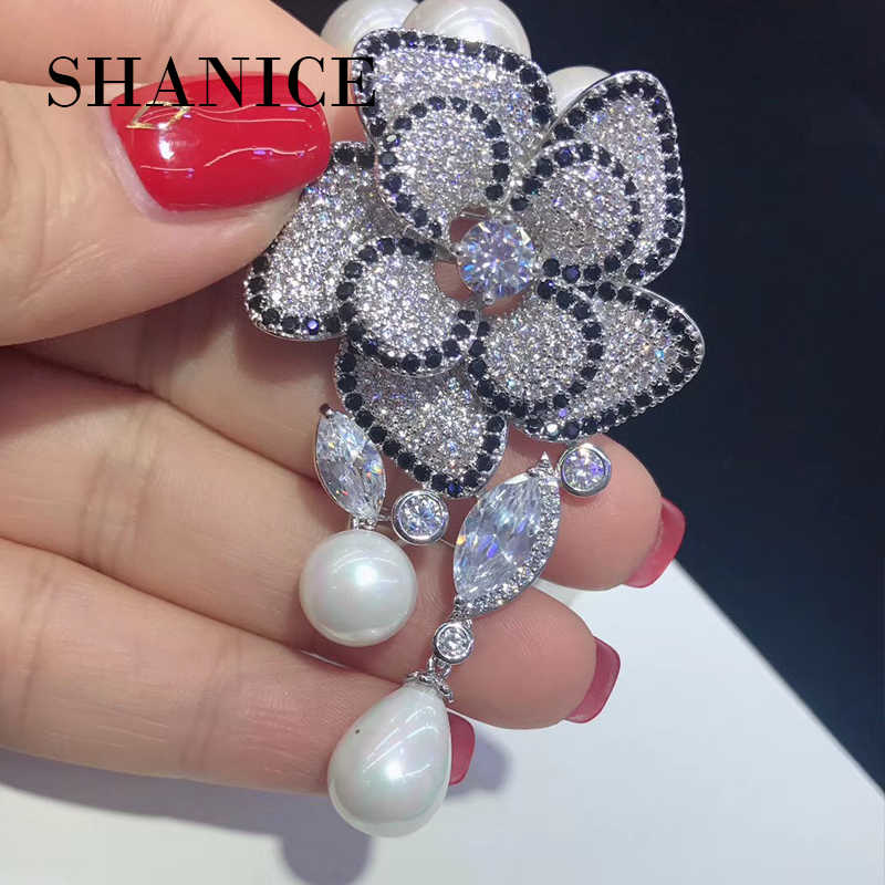 SHANICE 1pc Big Elegant Flower Necklace Pendant Bracelet Connector Locket Micro Paved CZ Tassels DIY Making Jewelry Accessory